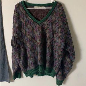 Vintage v-neck patterned grandpa knit sweater